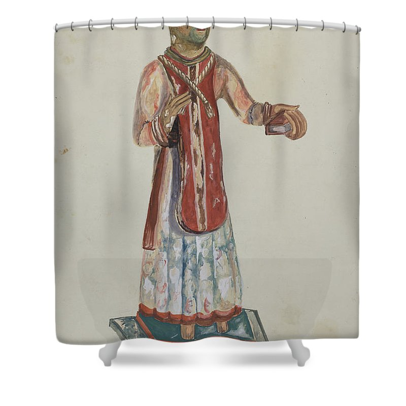 Shower Curtain featuring the drawing Old Bulto San Lorenzo by Conrado Barrio
