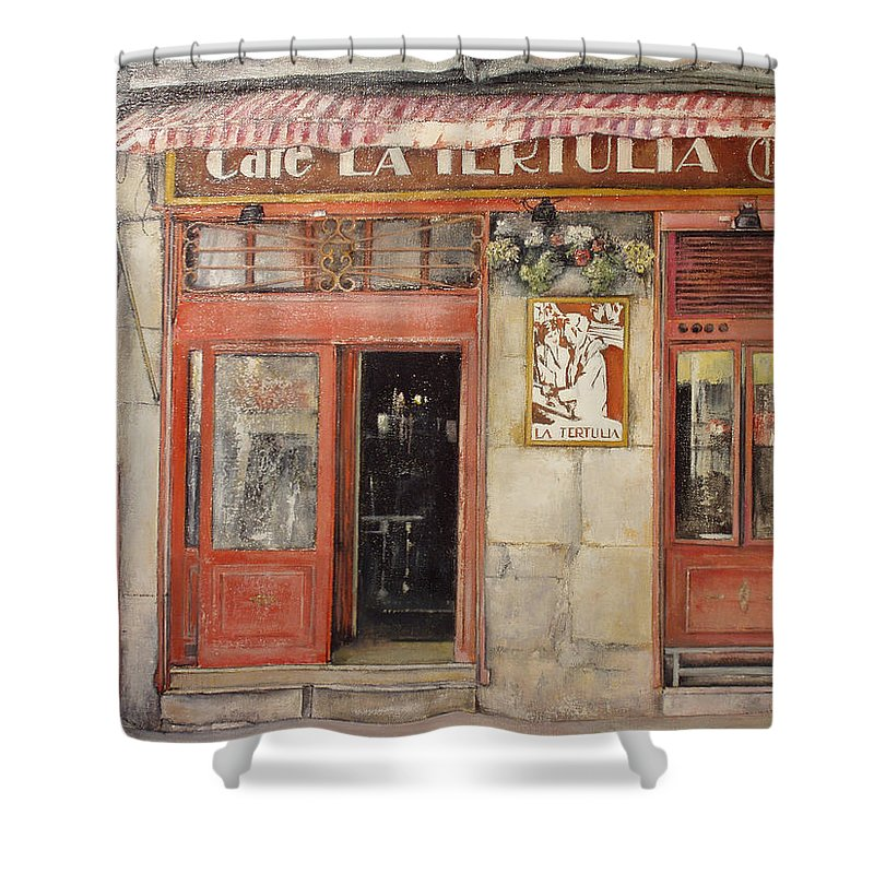 Cafe Shower Curtain featuring the painting Old Cafe- Santander Spain by Tomas Castano