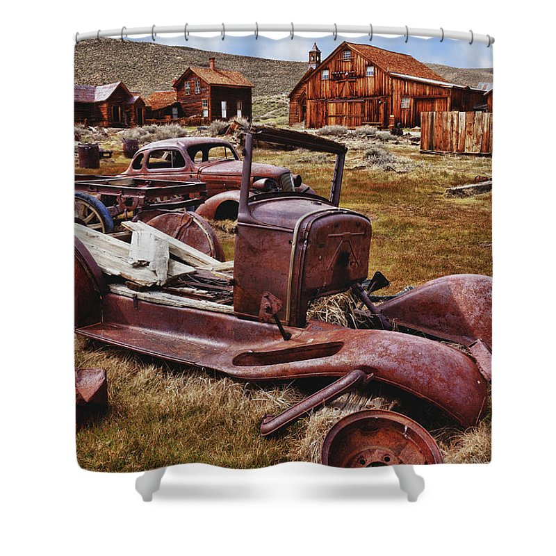 Car Shower Curtain featuring the photograph Old Cars Bodie by Garry Gay