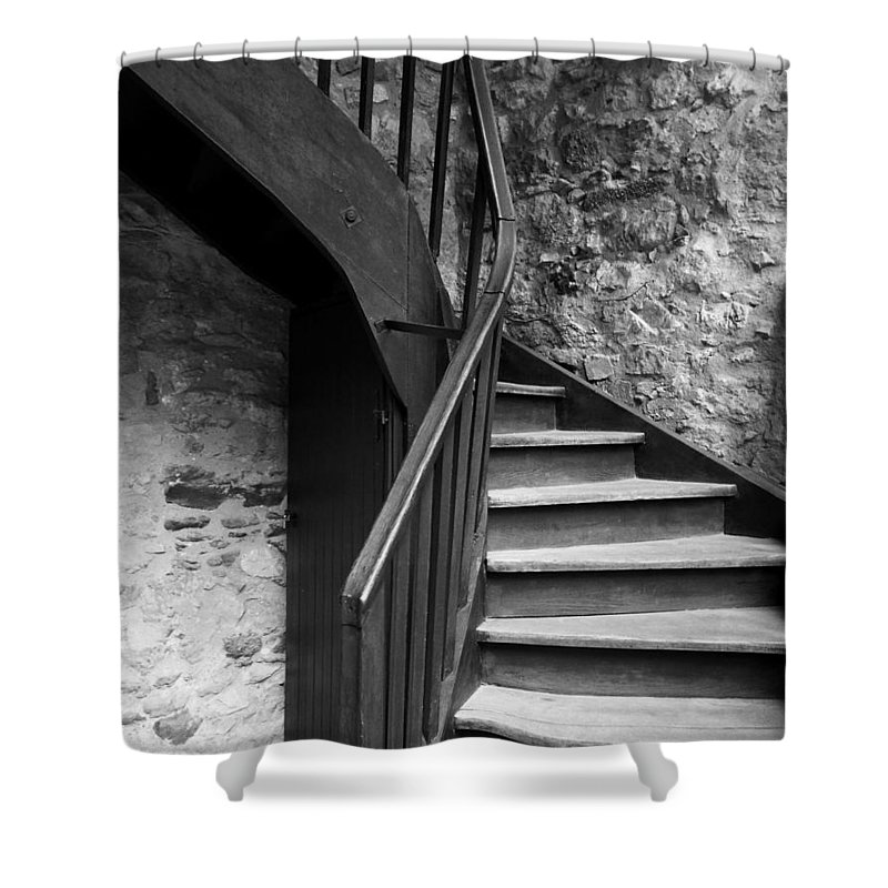 Dubovac Castle Shower Curtain featuring the photograph Old Castle Stairway by Helena Jajcevic
