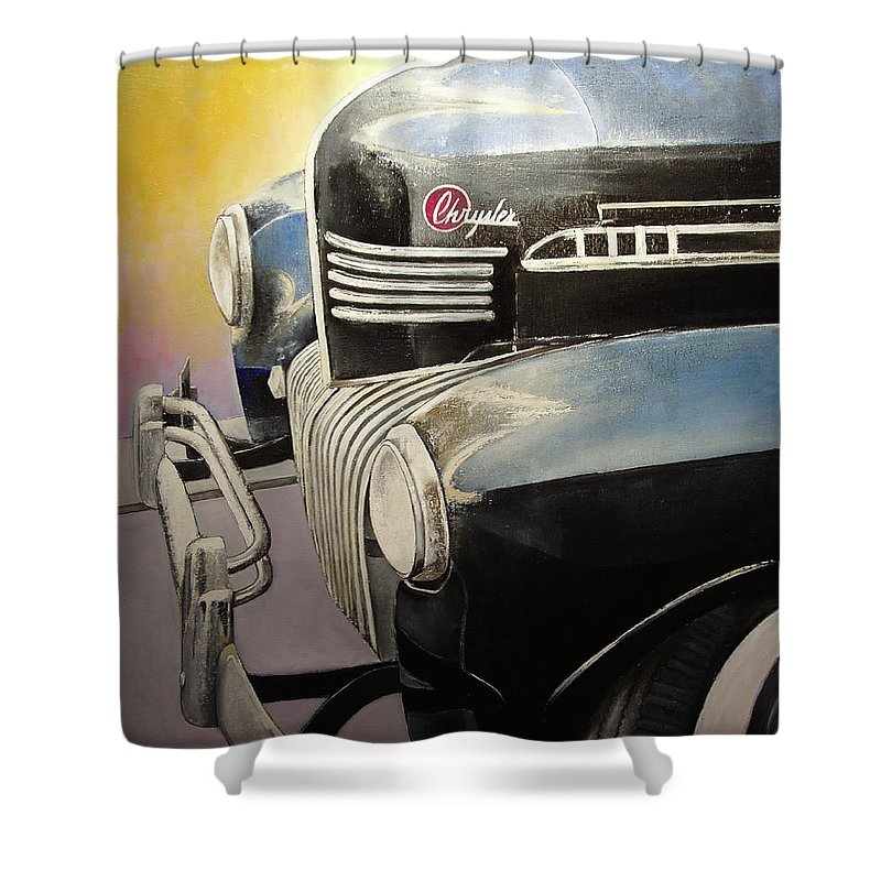 Old Shower Curtain featuring the painting Old Chrysler by Tomas Castano