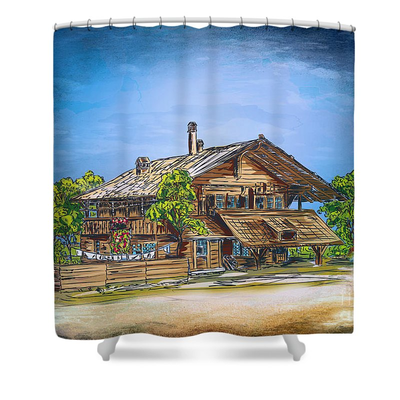 Old Shower Curtain featuring the painting Old Cottage by Andrzej Szczerski