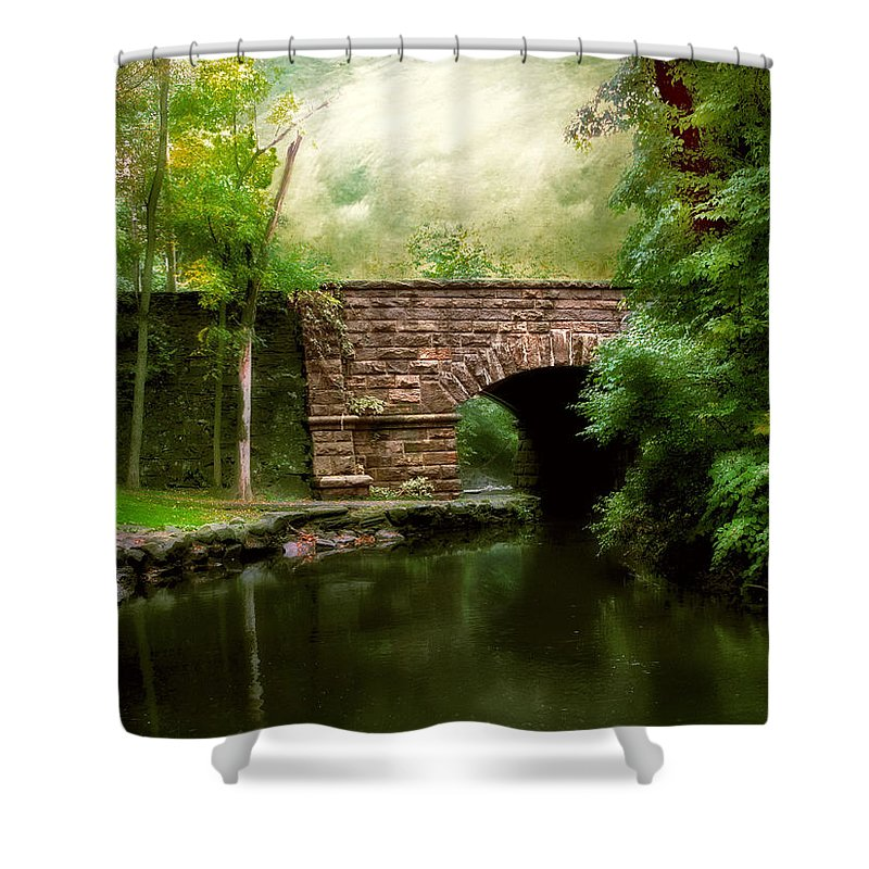 Old Countrybridge Green Art Shower Curtain featuring the photograph Old Country Bridge by Jessica Jenney