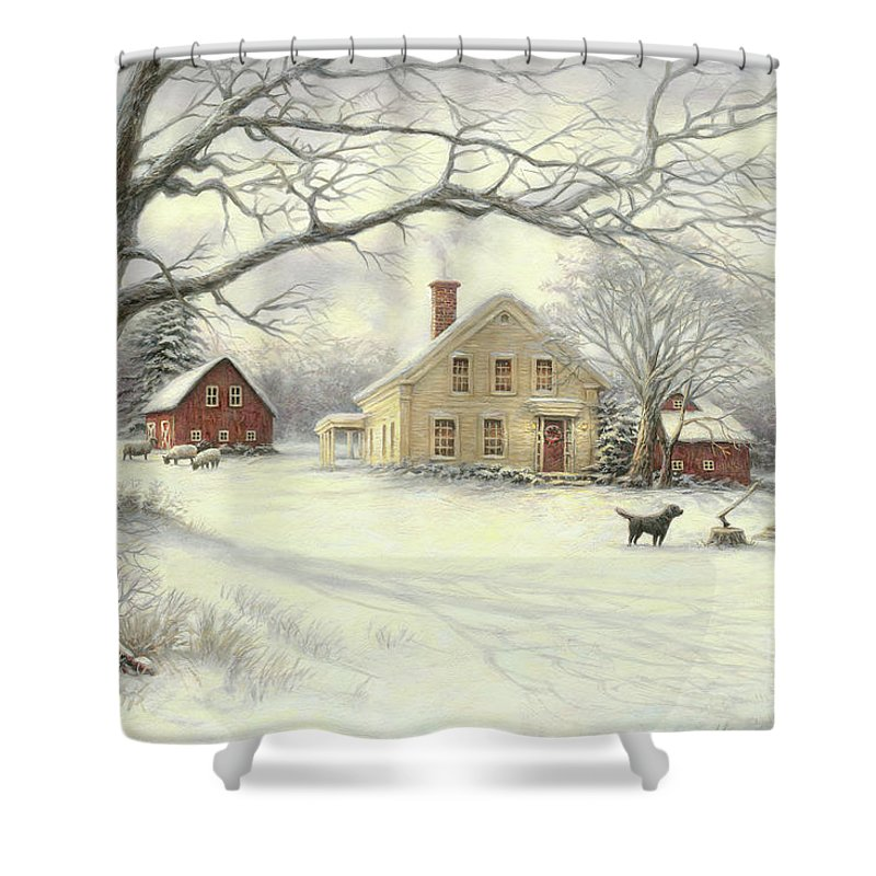 Vintage Shower Curtain Featuring The Painting Old Country Farm By Chuck Pinson