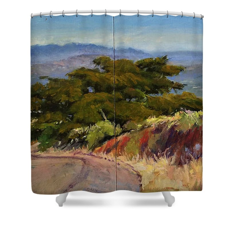 Landscape Painting Shower Curtain featuring the painting Old Cypress Near Temecula by Peter Salwen
