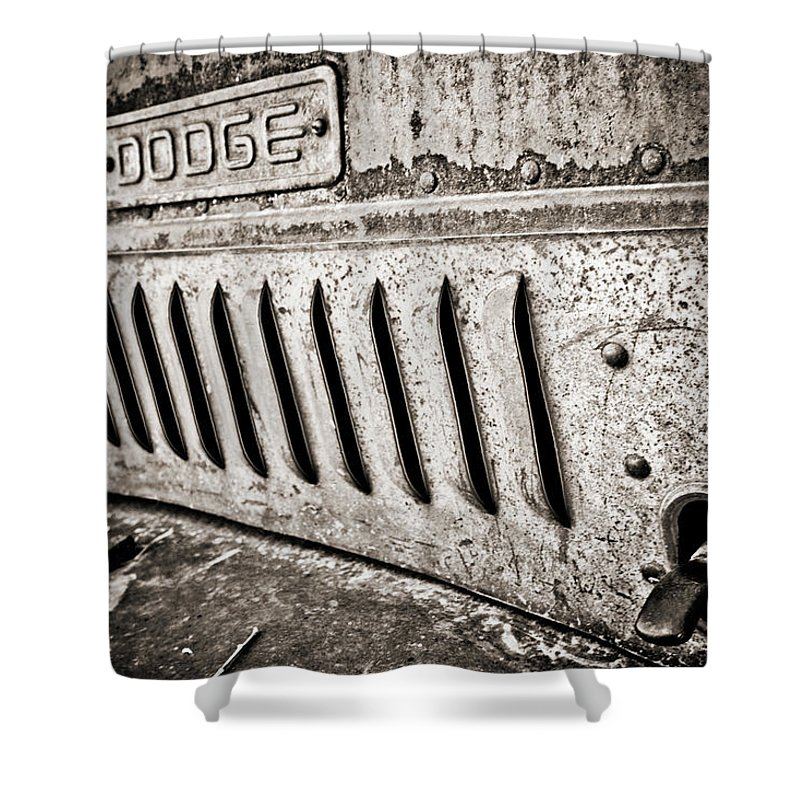 Americana Shower Curtain featuring the photograph Old Dodge Grille by Marilyn Hunt