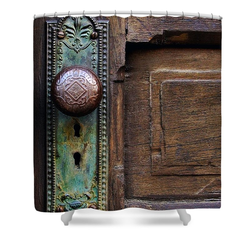 Antique Door Shower Curtain featuring the photograph Old Door Knob by Joanne Coyle