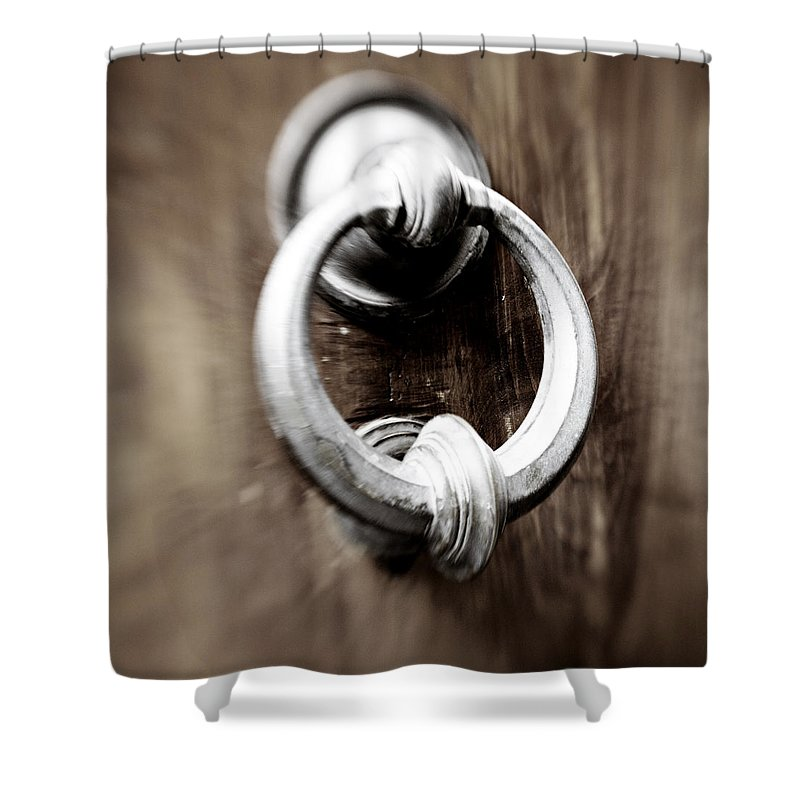 Home Shower Curtain featuring the photograph old Door Knocker by Marilyn Hunt