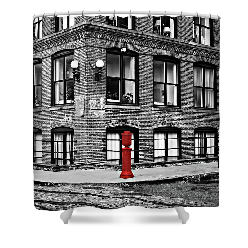 Brooklyn Shower Curtain featuring the photograph Old Fire Hydrant In Dumbo Brooklyn by Randy Aveille