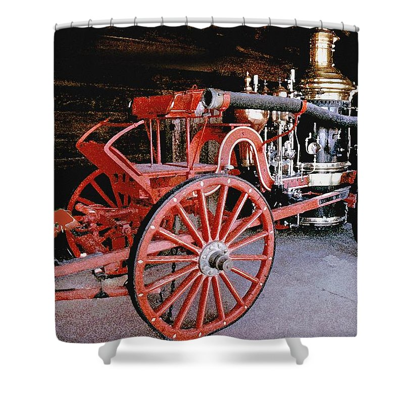 Old Fire Truck Shower Curtain featuring the digital art Old Fire Truck by Royce Emley