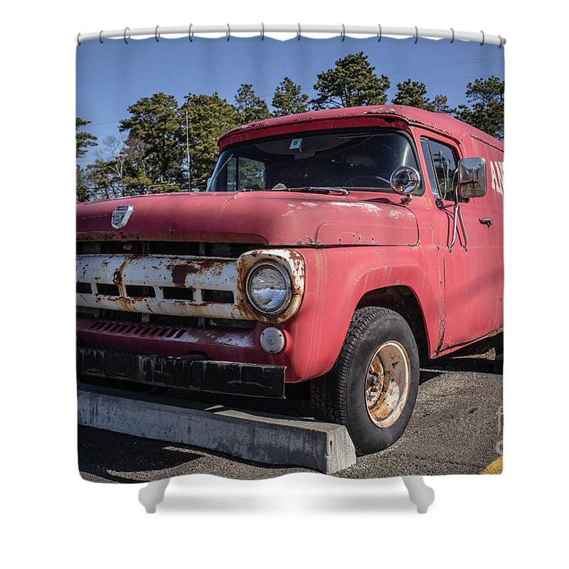 Cape Cod Shower Curtain Featuring The Photograph Old Ford Antiques Van By Edward Fielding