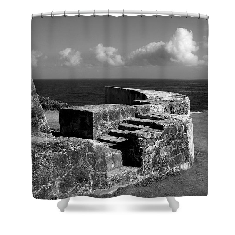 Fort Shower Curtain featuring the photograph Old Fort Steps 2 by Perry Webster