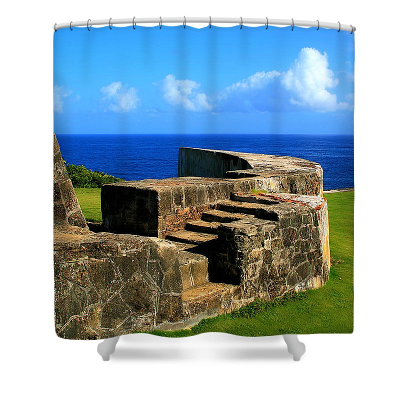 Fort Shower Curtain featuring the photograph Old Fort Steps by Perry Webster