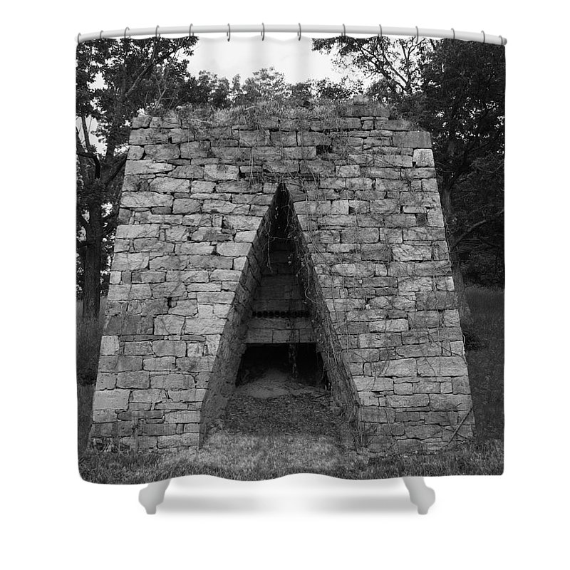 Furnace Shower Curtain featuring the photograph Old Furnace by Eric Liller