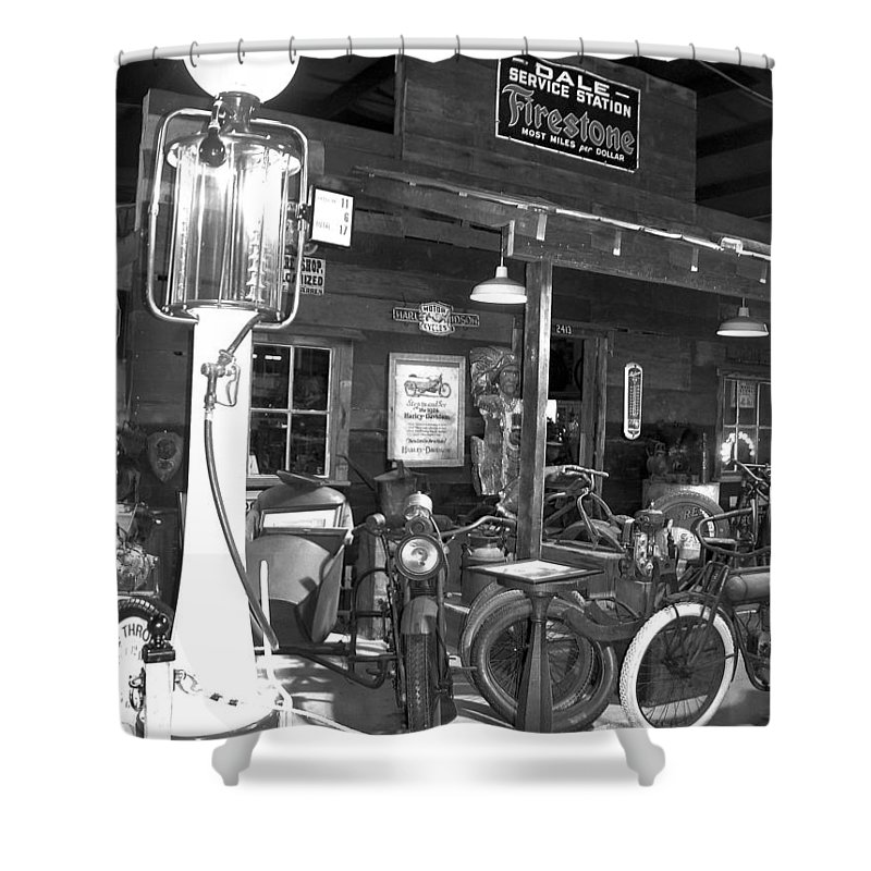 Shower Curtain featuring the photograph Old Gas Pump by Teresa Doran