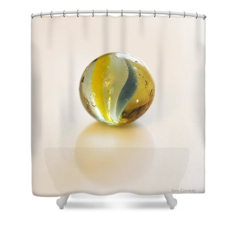 Marble Shower Curtain featuring the photograph Old Glass Marble by Tom Conway