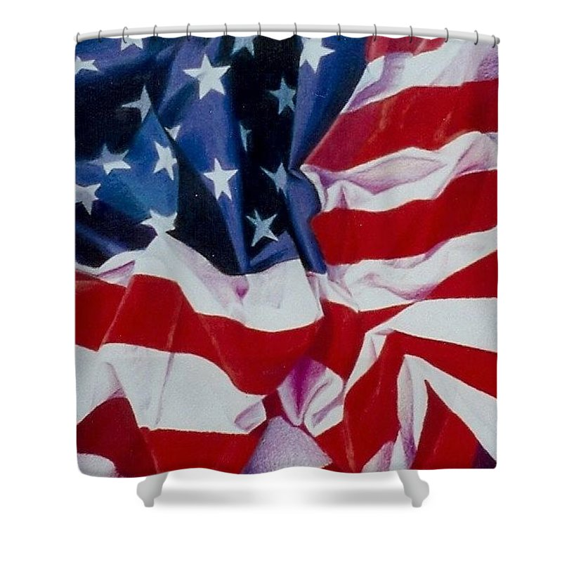 Red Shower Curtain featuring the painting Old Glory 1 by Constance Drescher