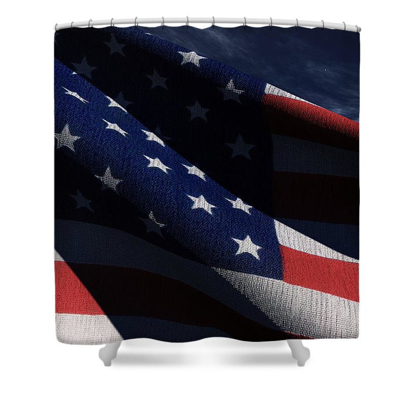 Us Flags Shower Curtain featuring the digital art Old Glory 2 by Richard Rizzo