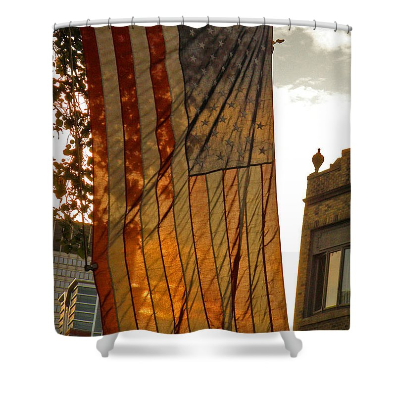 American Flag Shower Curtain featuring the photograph Old Glory by Donna Shahan