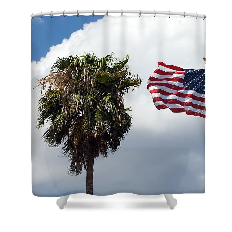 Florida; Titusville; Space; Coast; Astronauts; Astronaut; Cape; Canaveral; Mercury; Project; Freedom Shower Curtain featuring the photograph Old Glory Monument At Titusville Florida by Allan Hughes