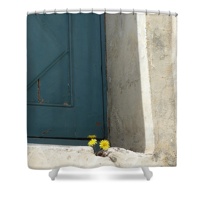 Old Shower Curtain featuring the photograph Old Greek Door by Valerie Ornstein