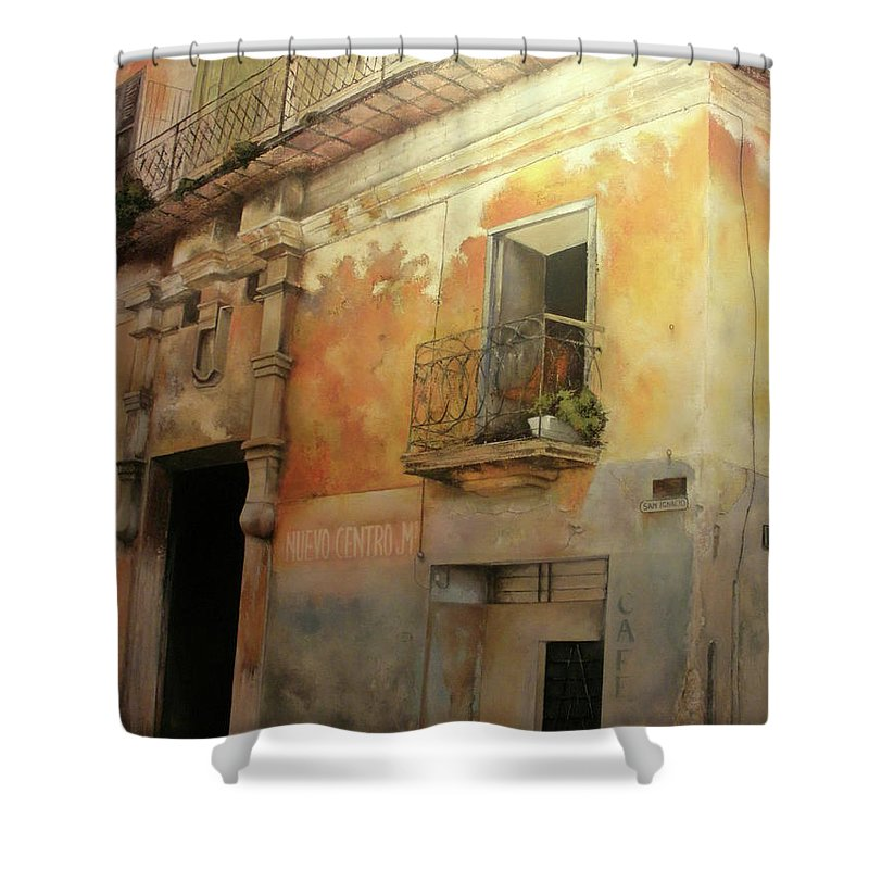 Havana Cuba Shower Curtain featuring the painting Old Havana by Tomas Castano