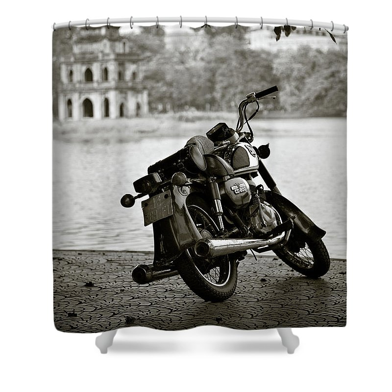 Honda Shower Curtain featuring the photograph Old Honda In Hanoi by Dave Bowman