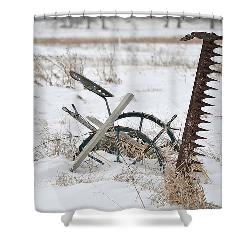 Antique Shower Curtain featuring the photograph Old Horse Drawn Sickle Mower by Nicole Frederick