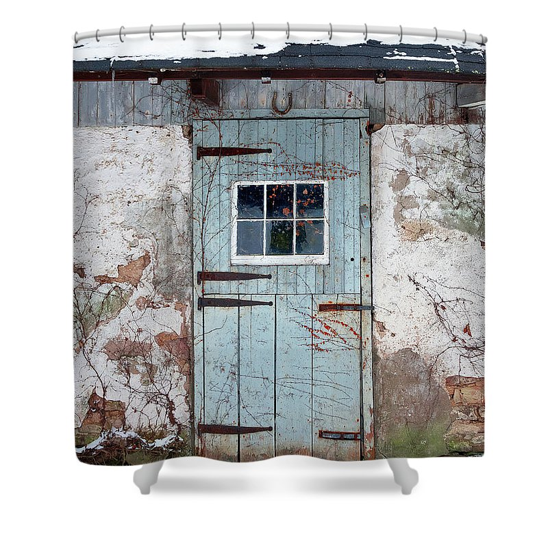 Barn Shower Curtain Featuring The Photograph Old Horse Stable Door By David Lamb