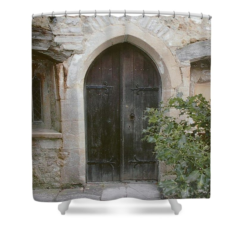 Brick Shower Curtain featuring the photograph Old Hospice by Ginger Repke