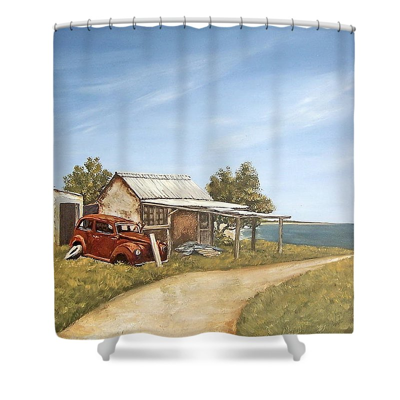 Old House Sea Seascape Landscape Shower Curtain featuring the painting Old House By The Sea by Natalia Tejera