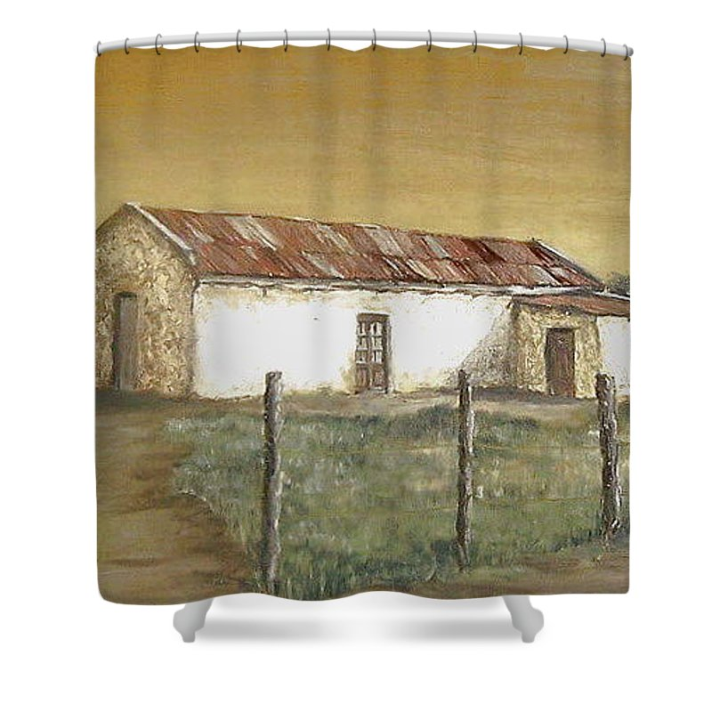 Old House Landscape Country Shower Curtain featuring the painting Old House by Natalia Tejera