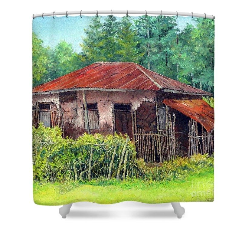 Old Shower Curtain featuring the painting Old House by Yoseph Abate