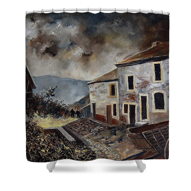 Tree Shower Curtain featuring the painting Old Houses by Pol Ledent