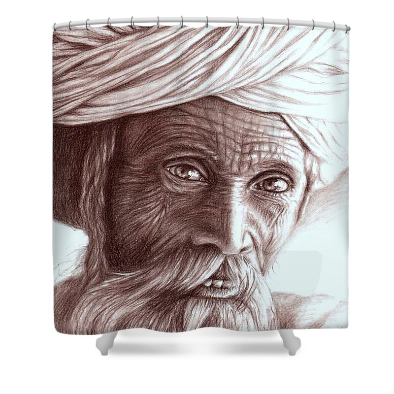 Man Shower Curtain featuring the drawing Old Indian Man by Nicole Zeug