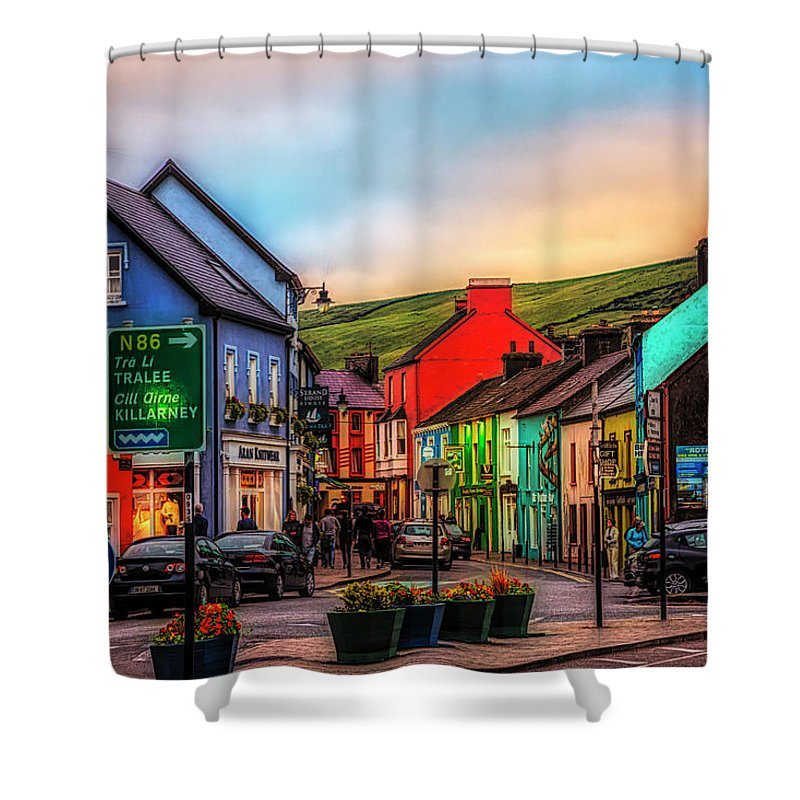 Barn Shower Curtain featuring the photograph Old Irish Town The Dingle Peninsula At Sunset by Debra and Dave Vanderlaan