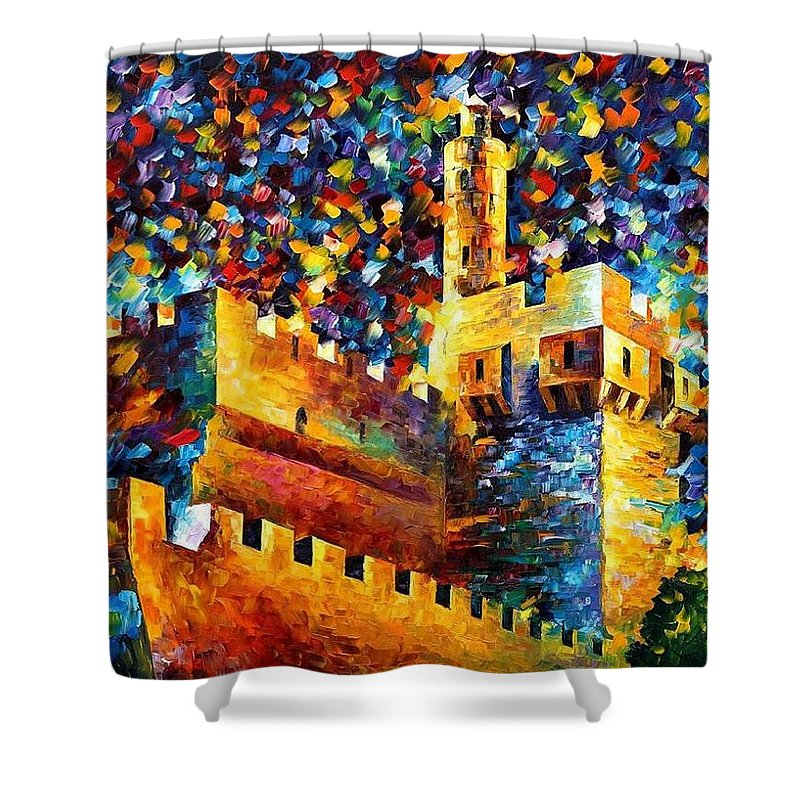 Afremov Shower Curtain featuring the painting Old Jerusalem by Leonid Afremov