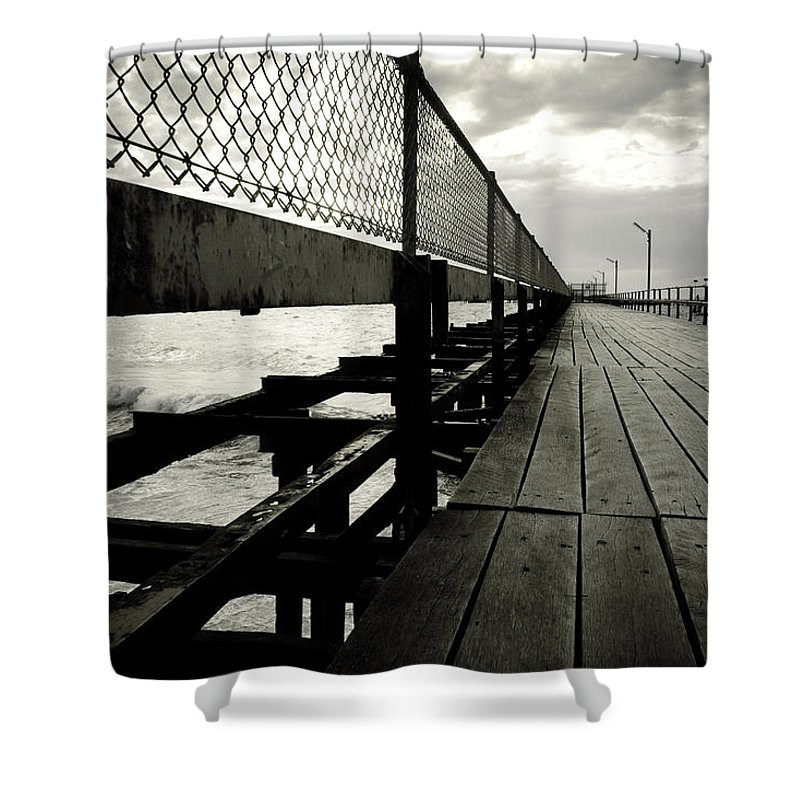 Old Shower Curtain featuring the photograph Old Jetty by Kelly Jade King