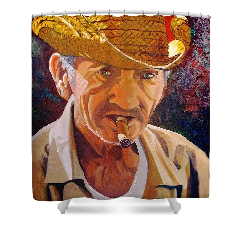 Cuban Art Shower Curtain featuring the painting Old Man by Jose Manuel Abraham
