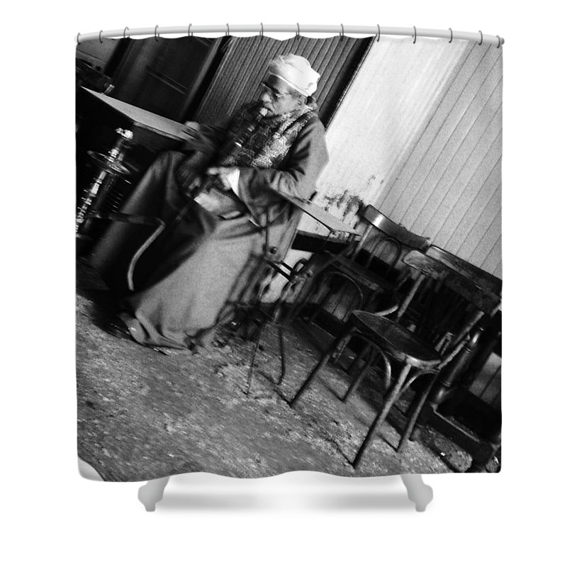Old Man Cafe Egypt Smoking Galabeya Traditional Cloth Black And White Shower Curtain featuring the photograph Old Man Smoking by Mina Milad
