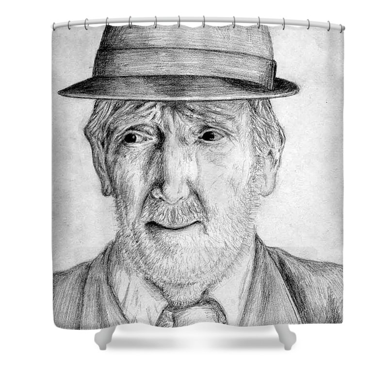 Man Shower Curtain featuring the drawing Old Man With Hat by Nicole Zeug