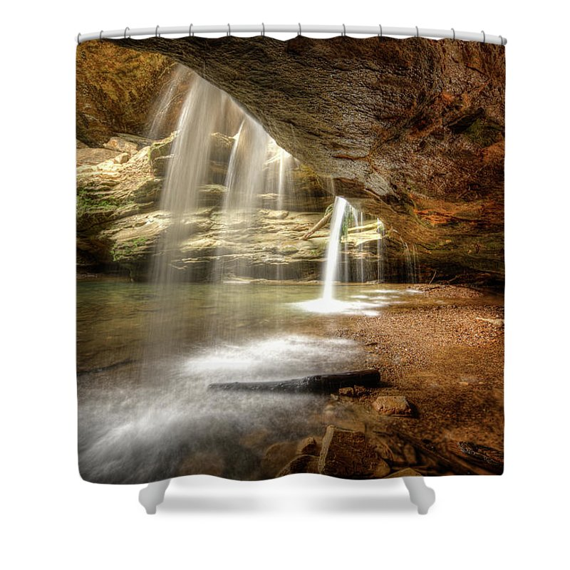 Cave Shower Curtain featuring the photograph Old Man's Cave Falls by Leo Cumings