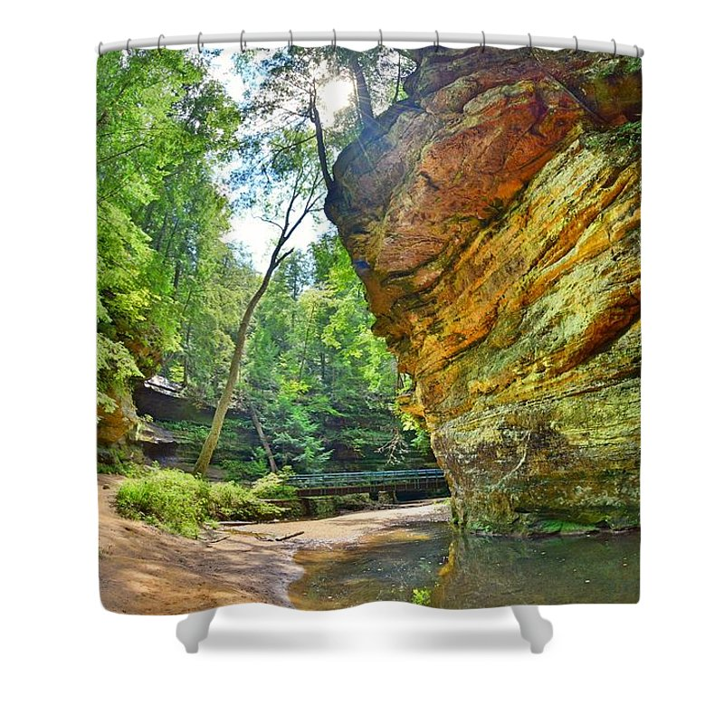 Old Man's Gorge Trail Hocking Hills Ohio Shower Curtain featuring the photograph Old Man's Gorge Trail Hocking Hills Ohio by Lisa Wooten