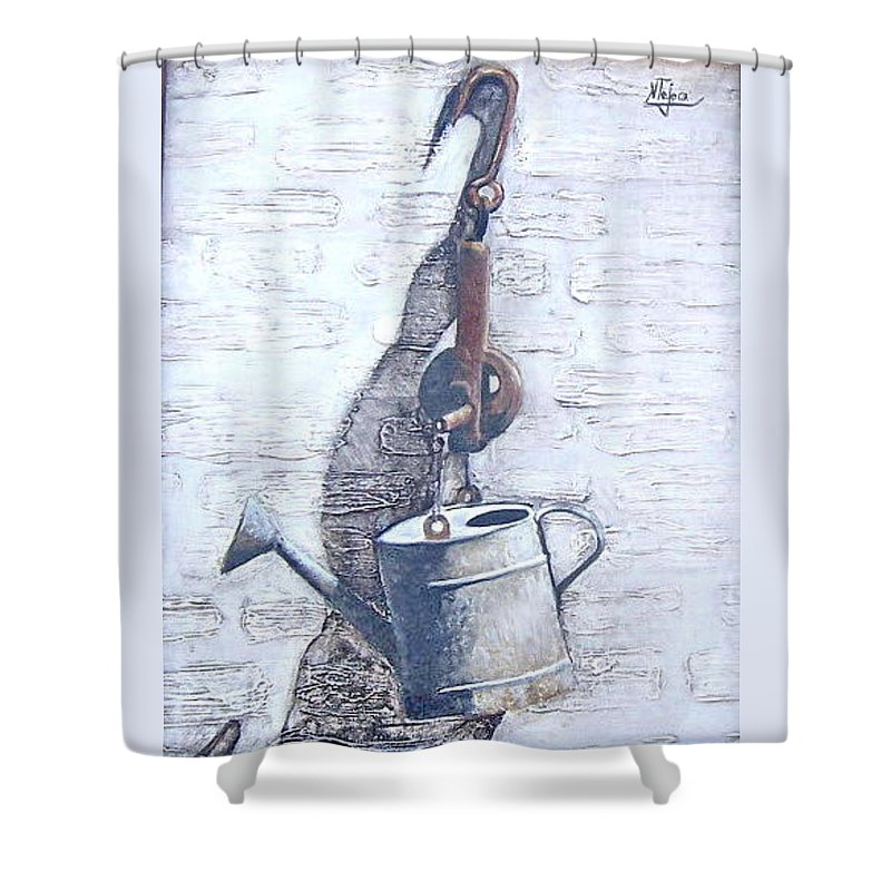 Old Metal Still Life Shower Curtain featuring the painting Old Metal by Natalia Tejera