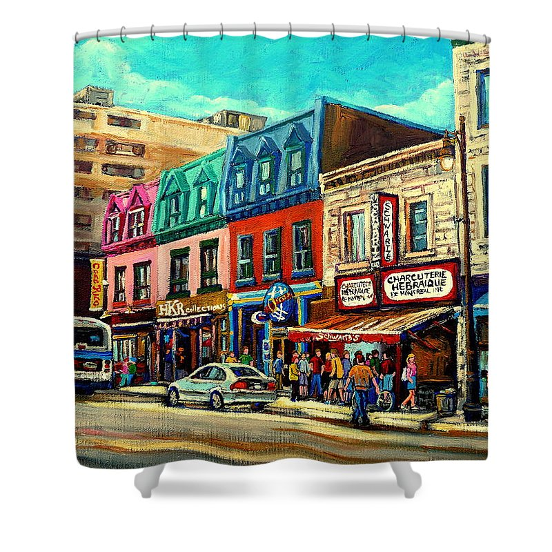 Old Montreal Schwartzs Deli Plateau Montreal City Scenes Shower Curtain featuring the painting Old Montreal Schwartzs Deli Plateau Montreal City Scenes by Carole Spandau