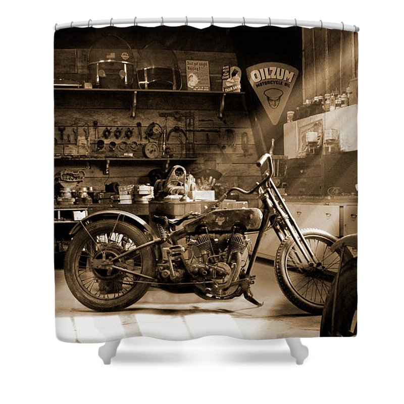 Old Motorcycle Shop Shower Curtain For Sale By Mike McGlothlen