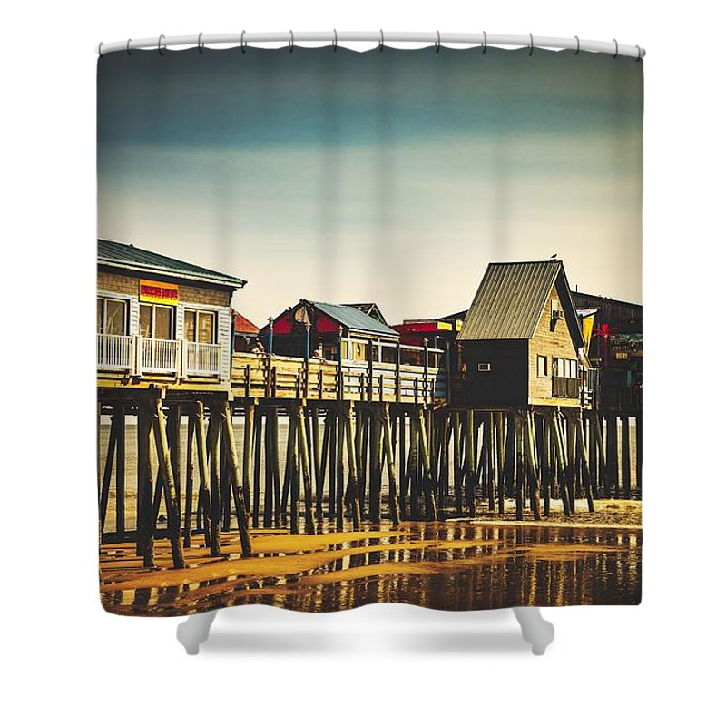 Old Orchard Beach Pier Shower Curtain featuring the photograph Old Orchard Beach Pier by Library Of Congress