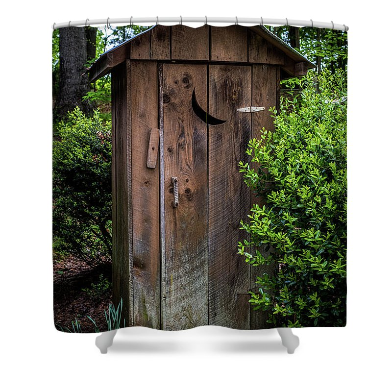White Outhouse Shower Curtain featuring the photograph Old Outhouse by Paul Freidlund