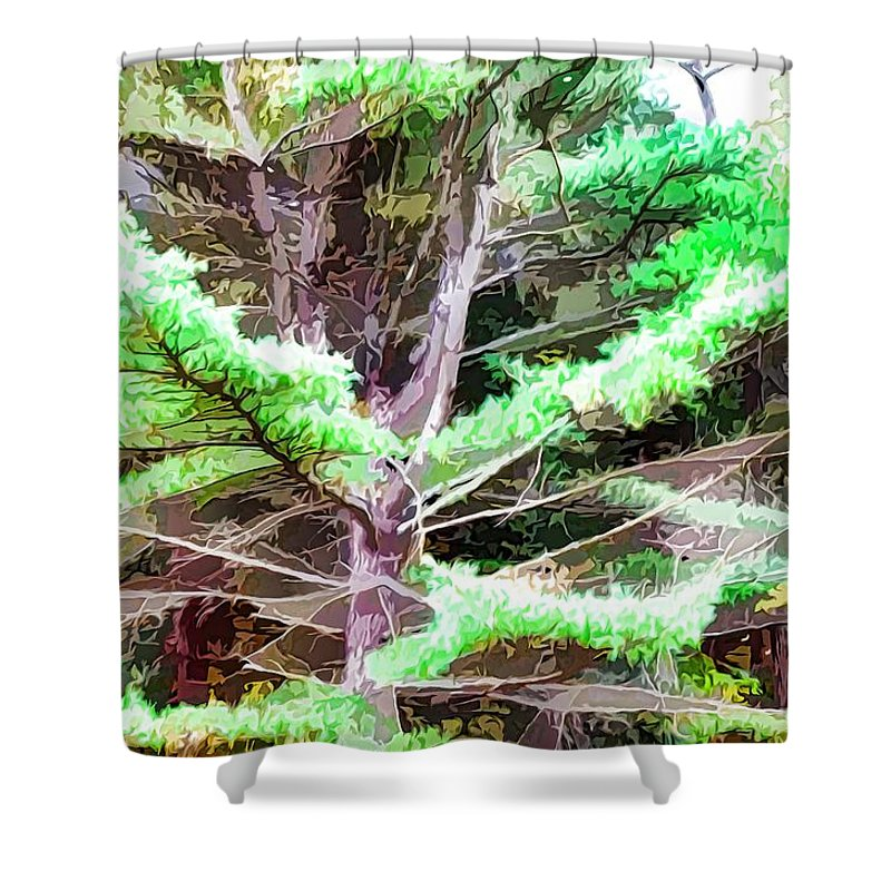 Old Pine Tree Shower Curtain featuring the painting Old Pine Tree by Jeelan Clark