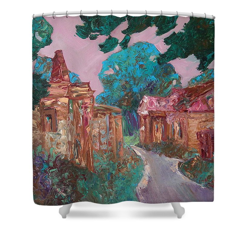 Landscape Shower Curtain featuring the painting Old Place by Sergey Ignatenko
